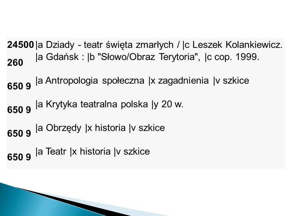 24500|a Dziady - teatr święta zmarłych / |c Leszek Kolankiewicz. 260 |a Gdańsk : |b