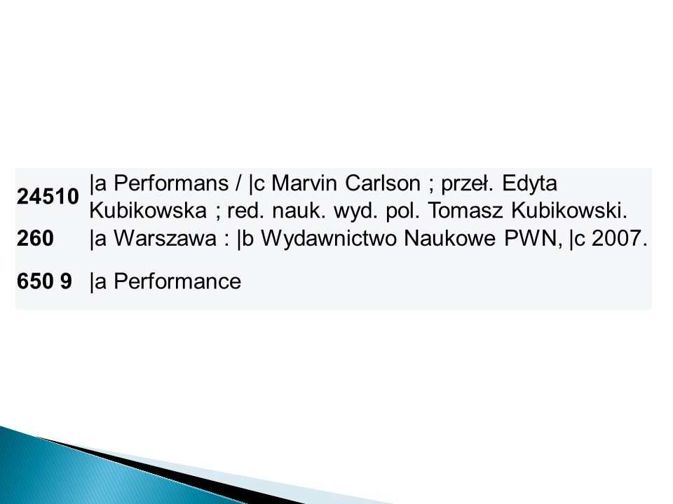 24510 |a Performans / |c Marvin Carlson ; przeł. Edyta Kubikowska ; red. nauk. wyd. pol. Tomasz Kubikowski. 260|a Warszawa : |b Wydawnictwo Naukowe PW