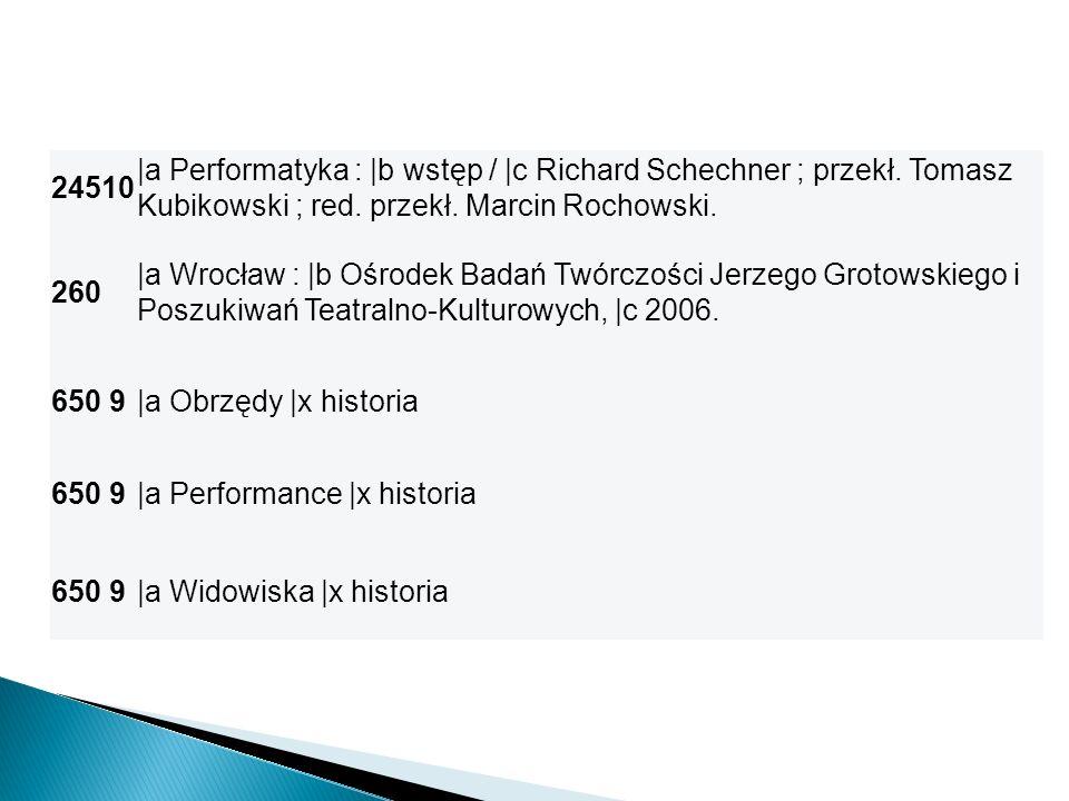 24510 |a Performatyka : |b wstęp / |c Richard Schechner ; przekł. Tomasz Kubikowski ; red. przekł. Marcin Rochowski. 260 |a Wrocław : |b Ośrodek Badań