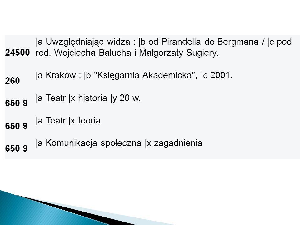 24500 |a Uwzględniając widza : |b od Pirandella do Bergmana / |c pod red. Wojciecha Balucha i Małgorzaty Sugiery. 260 |a Kraków : |b