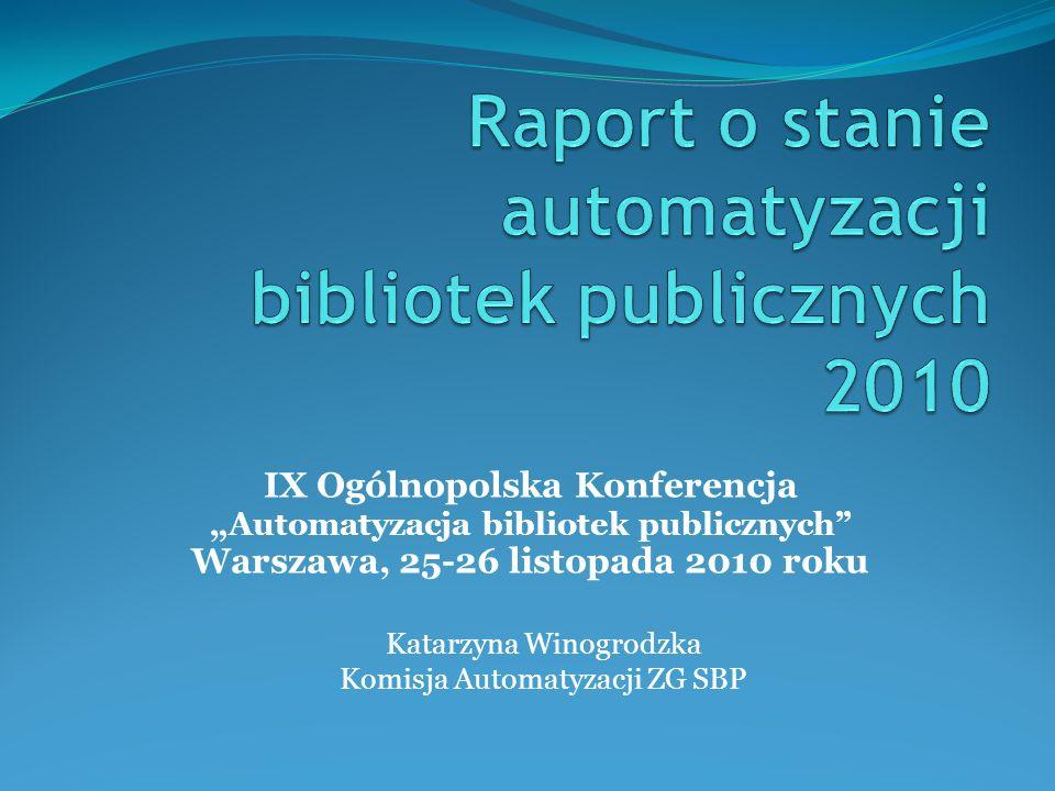 Prezentowany raport został opracowany na podstawie badania ankietowego, skierowanego do wszystkich bibliotek wojewódzkich, które koordynowały zbieranie danych z bibliotek terenowych i opracowały dane zbiorcze.