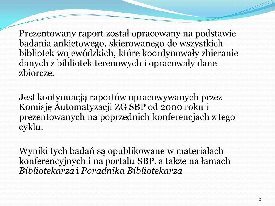 Prezentowany raport został opracowany na podstawie badania ankietowego, skierowanego do wszystkich bibliotek wojewódzkich, które koordynowały zbierani