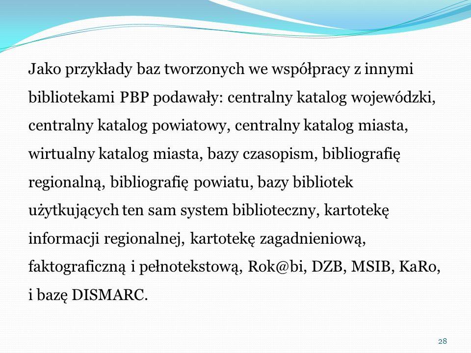 Jako przykłady baz tworzonych we współpracy z innymi bibliotekami PBP podawały: centralny katalog wojewódzki, centralny katalog powiatowy, centralny k