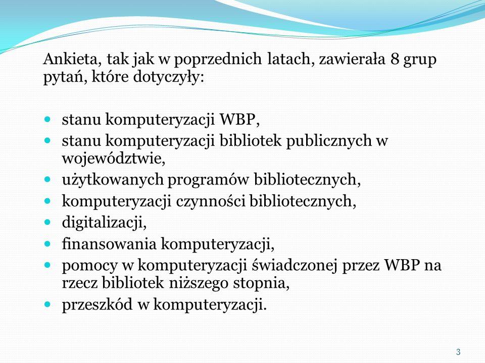 Komputeryzacja procesów bibliotecznych w MiWBP Liczba MiWBP 2004 Liczba MiWBP 2006 Liczba MiWBP 2008 Liczba MiWBP 2010 Tworzenie baz katalogowych 791154919061804 Tworzenie baz bibliograficznych 124184220636 Przejmowanie danych z baz Biblioteki Narodowej 27261412841382 Przejmowanie danych z katalogu NUKAT 25167437497 Stosowanie formatu MARC 21 17050610921132 Kontrola kartotekami wzorcowymi 267617908714 Współtworzenie baz lokalnych 6356152158 Współtworzenie baz krajowych 21519 Współtworzenie baz międzynarodowych 1 Udostępnianie własnych baz katalogowych w Internecie 74225358510 Komunikatory w działalności informacyjnej MiWBP 503 34 Ocenę stanu zaawansowania komputeryzacji w bibliotekach miejskich i wiejskich może dopełnić analiza komputeryzacji czynności bibliotecznych.