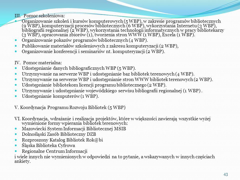 III. Pomoc szkoleniowa: Organizowanie szkoleń i kursów komputerowych (5 WBP), w zakresie programów bibliotecznych (9 WBP), komputeryzacji procesów bib