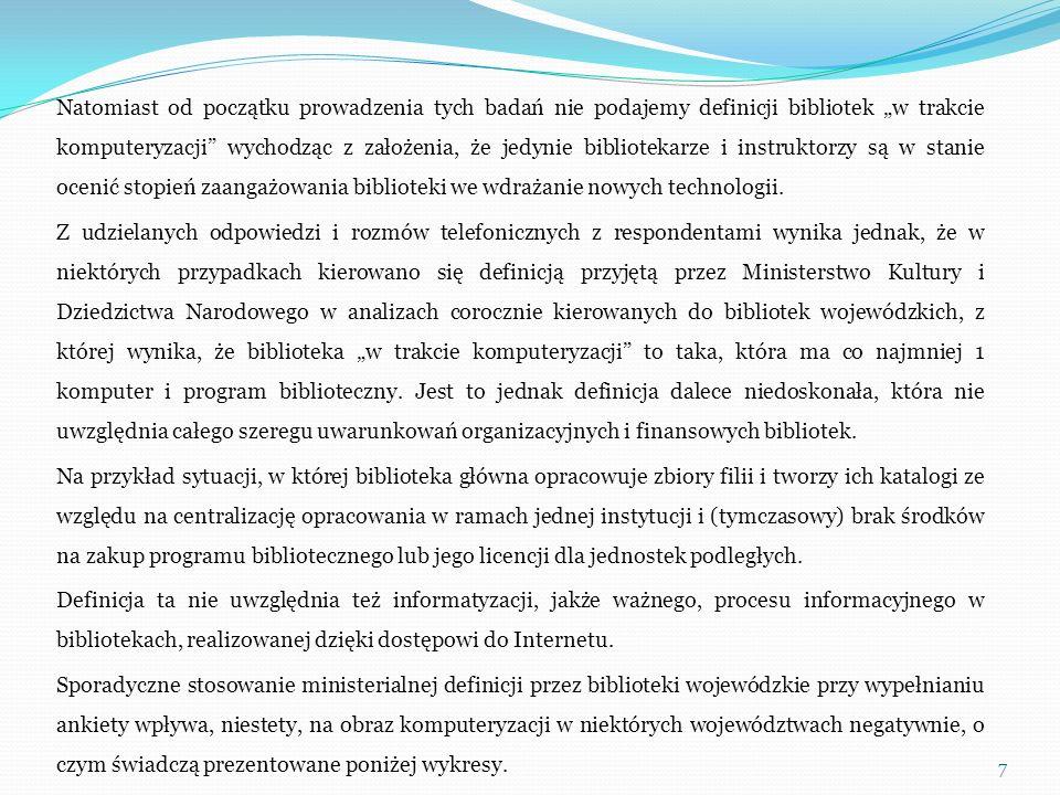 Jako przykłady baz tworzonych we współpracy z innymi bibliotekami PBP podawały: centralny katalog wojewódzki, centralny katalog powiatowy, centralny katalog miasta, wirtualny katalog miasta, bazy czasopism, bibliografię regionalną, bibliografię powiatu, bazy bibliotek użytkujących ten sam system biblioteczny, kartotekę informacji regionalnej, kartotekę zagadnieniową, faktograficzną i pełnotekstową, Rok@bi, DZB, MSIB, KaRo, i bazę DISMARC.