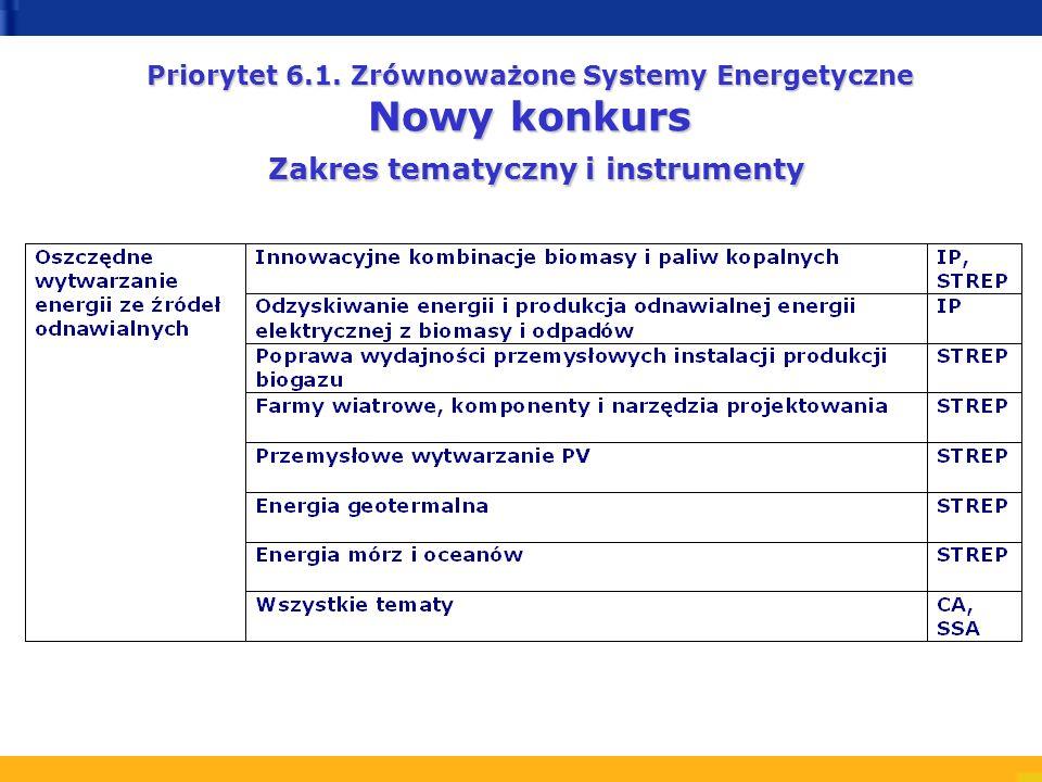 Priorytet 6.1. Zrównoważone Systemy Energetyczne Nowy konkurs Zakres tematyczny i instrumenty