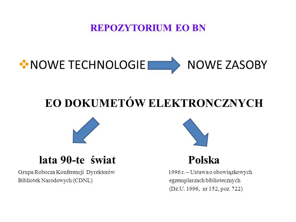 REPOZYTORIUM EO BN NOWE TECHNOLOGIE NOWE ZASOBY EO DOKUMETÓW ELEKTRONCZNYCH lata 90-te świat Polska Grupa Robocza Konferencji Dyrektorów 1996 r.