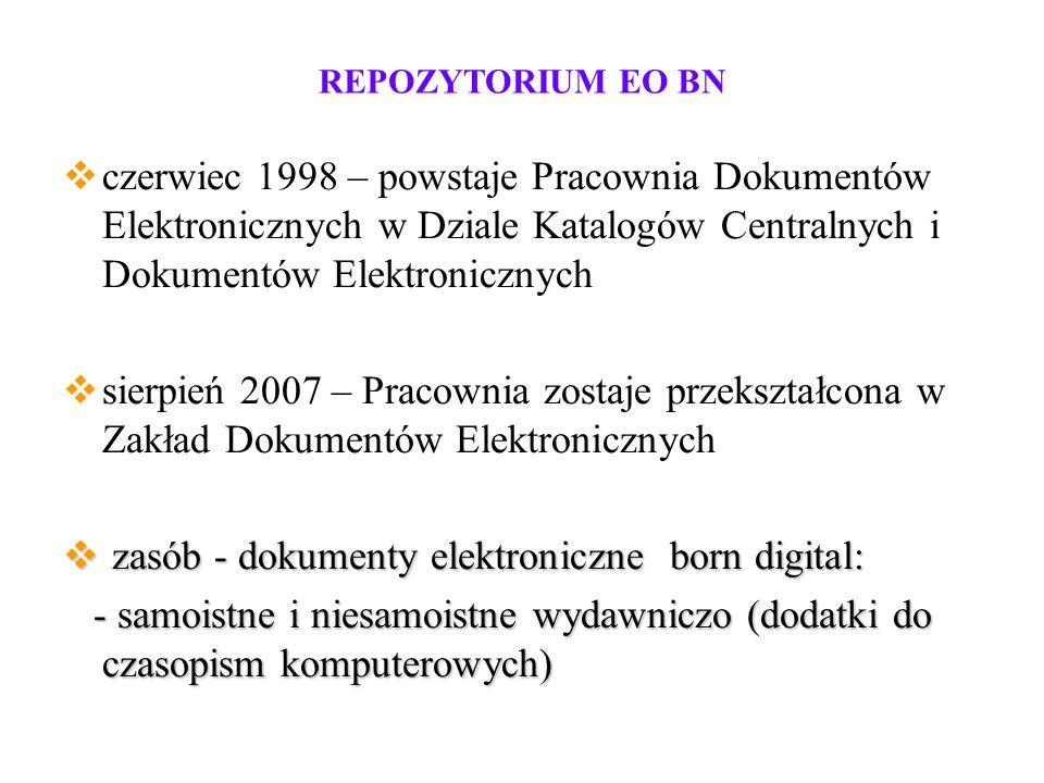 REPOZYTORIUM EO BN offline (dyskietki, płyty CD, DVD, pendrive) offline (dyskietki, płyty CD, DVD, pendrive) online (e-książki, online (e-książki, e-czasopisma) e-czasopisma)