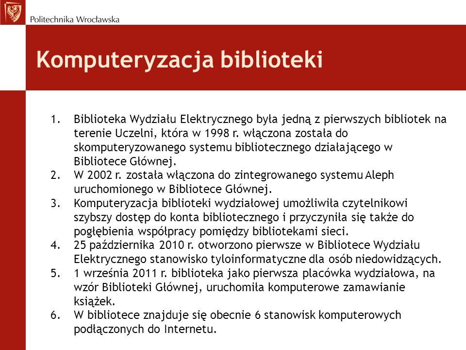 Komputeryzacja biblioteki 1.Biblioteka Wydziału Elektrycznego była jedną z pierwszych bibliotek na terenie Uczelni, która w 1998 r. włączona została d