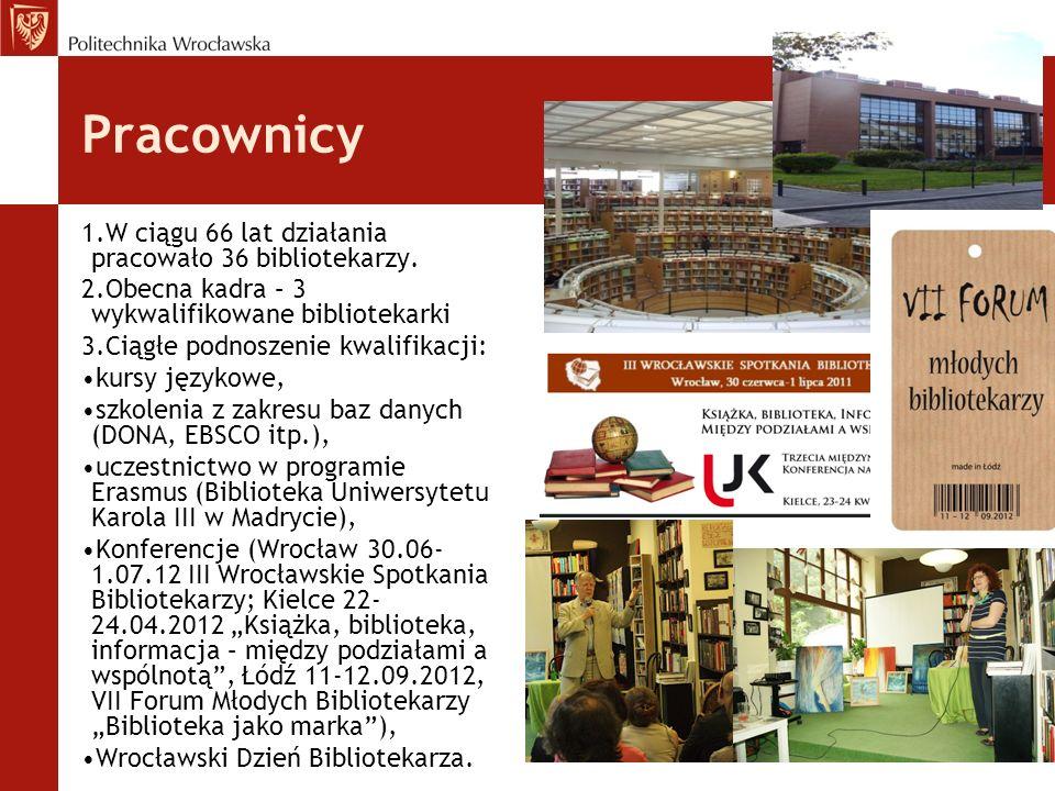 Pracownicy 1.W ciągu 66 lat działania pracowało 36 bibliotekarzy. 2.Obecna kadra – 3 wykwalifikowane bibliotekarki 3.Ciągłe podnoszenie kwalifikacji: