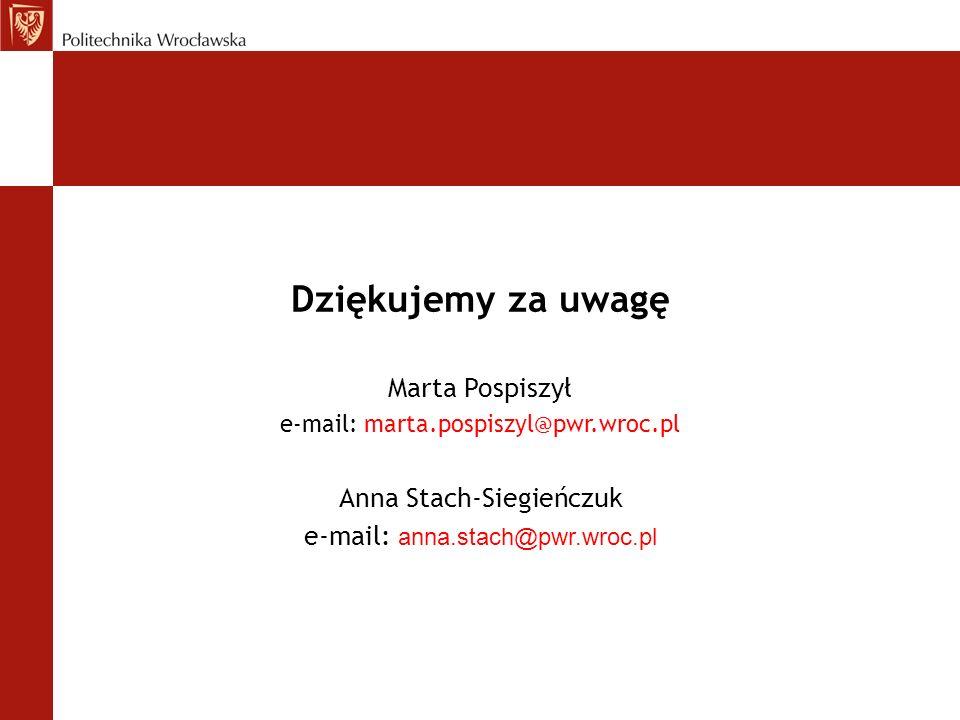 Dziękujemy za uwagę Anna Stach-Siegieńczuk e-mail: anna.stach@pwr.wroc.pl Marta Pospiszył e-mail: marta.pospiszyl@pwr.wroc.pl