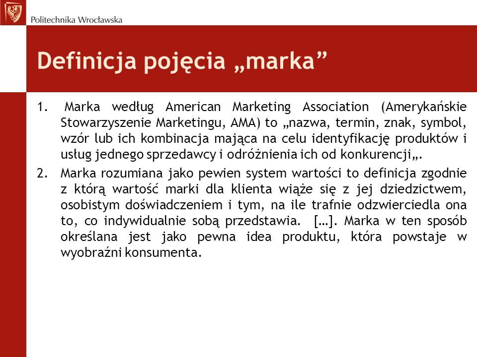 Definicja pojęcia marka 1. Marka według American Marketing Association (Amerykańskie Stowarzyszenie Marketingu, AMA) to nazwa, termin, znak, symbol, w