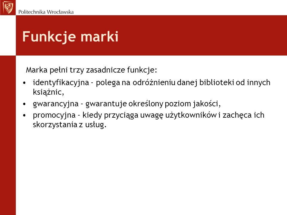 Funkcje marki Marka pełni trzy zasadnicze funkcje: identyfikacyjna - polega na odróżnieniu danej biblioteki od innych książnic, gwarancyjna - gwarantu