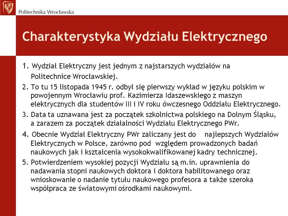 Charakterystyka Wydziału Elektrycznego 1. Wydział Elektryczny jest jednym z najstarszych wydziałów na Politechnice Wrocławskiej. 2. To tu 15 listopada
