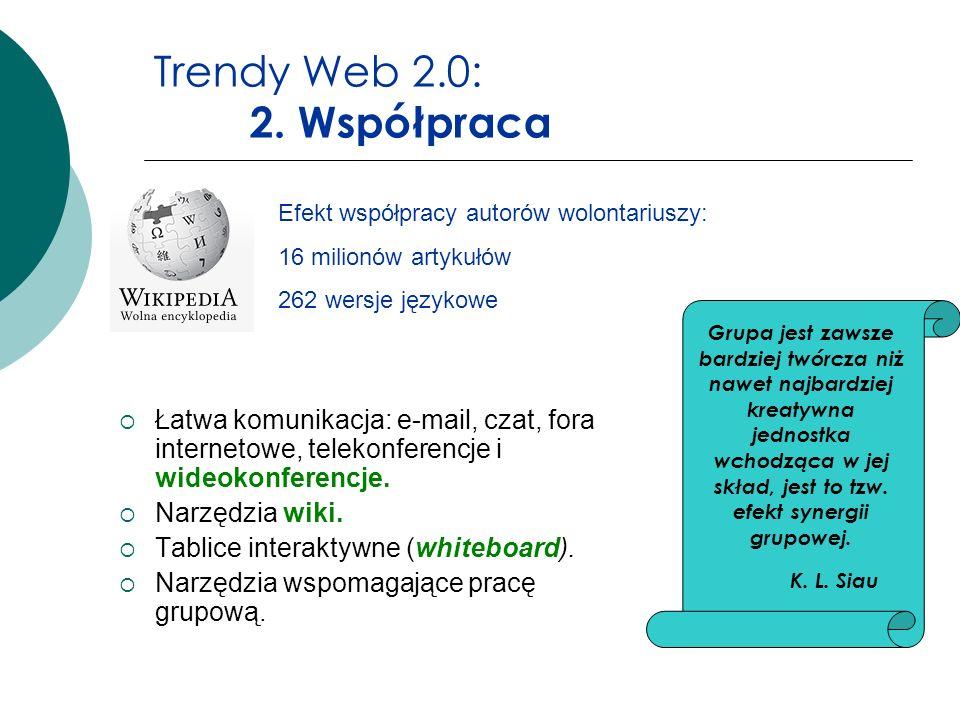 Trendy Web 2.0: 2. Współpraca Łatwa komunikacja: e-mail, czat, fora internetowe, telekonferencje i wideokonferencje. Narzędzia wiki. Tablice interakty