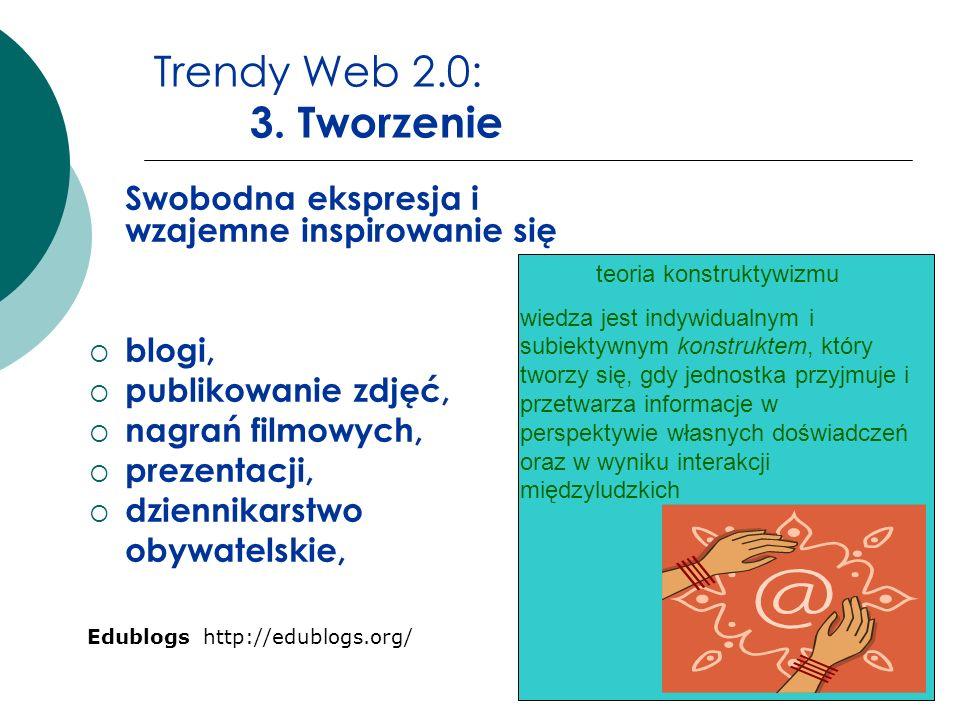 Trendy Web 2.0: 3. Tworzenie Swobodna ekspresja i wzajemne inspirowanie się blogi, publikowanie zdjęć, nagrań filmowych, prezentacji, dziennikarstwo o