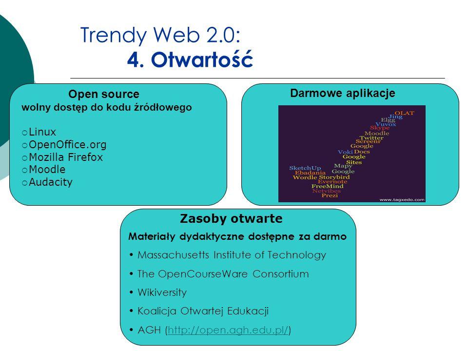 Trendy Web 2.0: 4. Otwartość Darmowe aplikacje Open source wolny dostęp do kodu źródłowego Linux OpenOffice.org Mozilla Firefox Moodle Audacity Materi