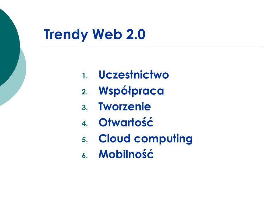 Trendy Web 2.0 1. Uczestnictwo 2. Współpraca 3. Tworzenie 4. Otwartość 5. Cloud computing 6. Mobilność