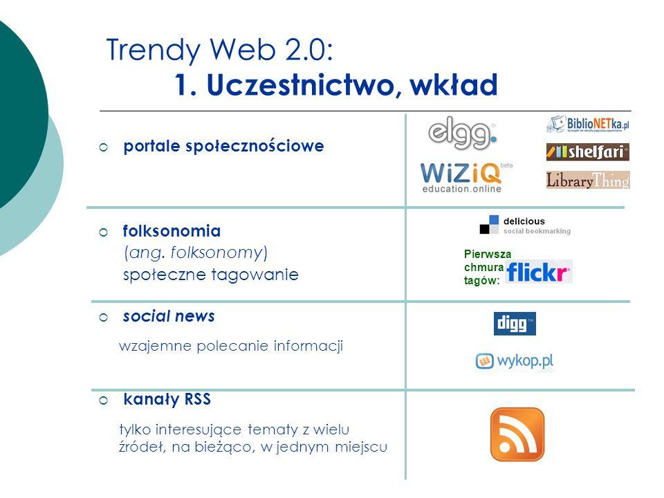 Trendy Web 2.0: 1. Uczestnictwo, wkład portale społecznościowe folksonomia (ang. folksonomy) społeczne tagowanie social news kanały RSS Pierwsza chmur