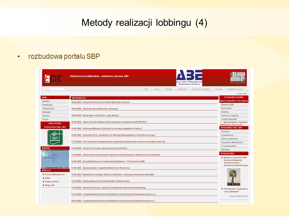 Metody realizacji lobbingu (4) rozbudowa portalu SBP