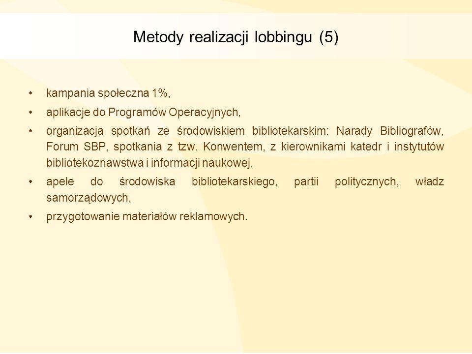 Metody realizacji lobbingu (5) kampania społeczna 1%, aplikacje do Programów Operacyjnych, organizacja spotkań ze środowiskiem bibliotekarskim: Narady