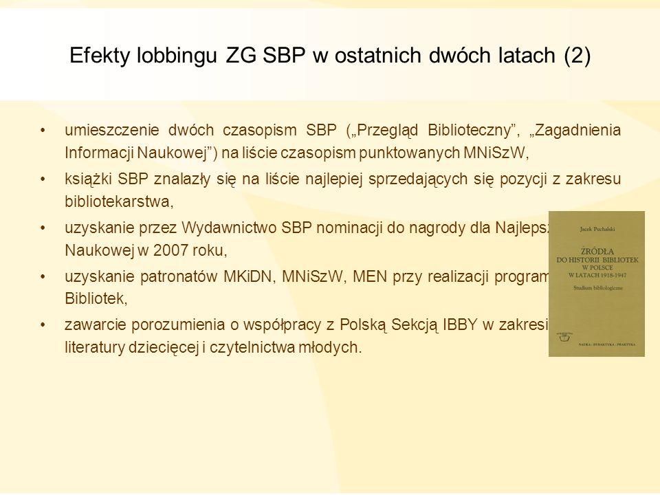 Efekty lobbingu ZG SBP w ostatnich dwóch latach (2) umieszczenie dwóch czasopism SBP (Przegląd Biblioteczny, Zagadnienia Informacji Naukowej) na liści