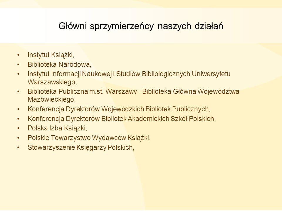 Główni sprzymierzeńcy naszych działań Instytut Książki, Biblioteka Narodowa, Instytut Informacji Naukowej i Studiów Bibliologicznych Uniwersytetu Wars