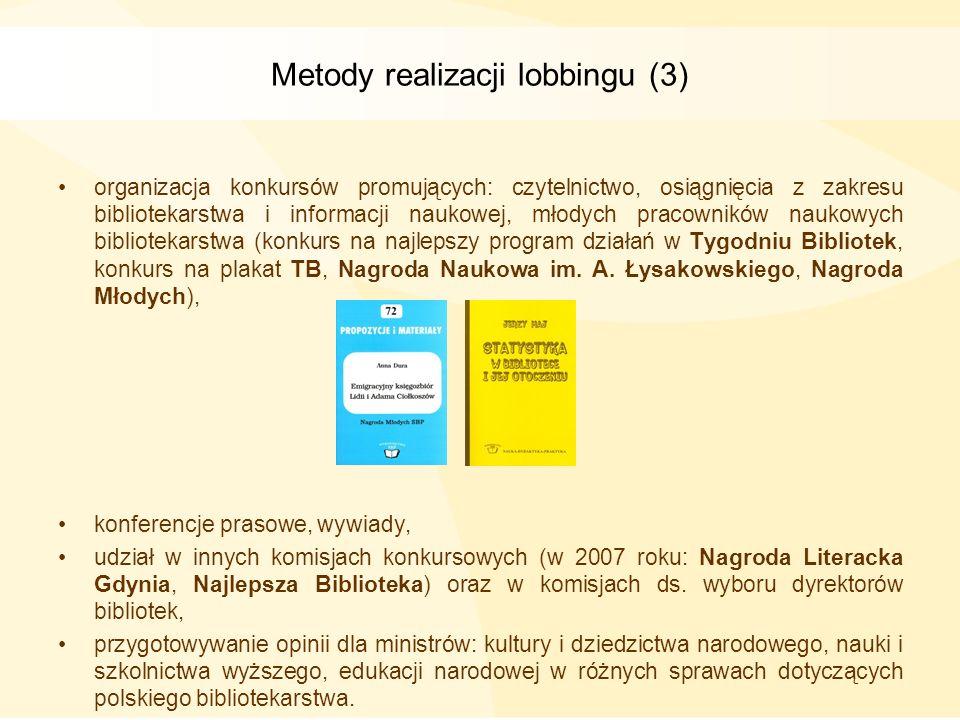 Metody realizacji lobbingu (3) organizacja konkursów promujących: czytelnictwo, osiągnięcia z zakresu bibliotekarstwa i informacji naukowej, młodych p