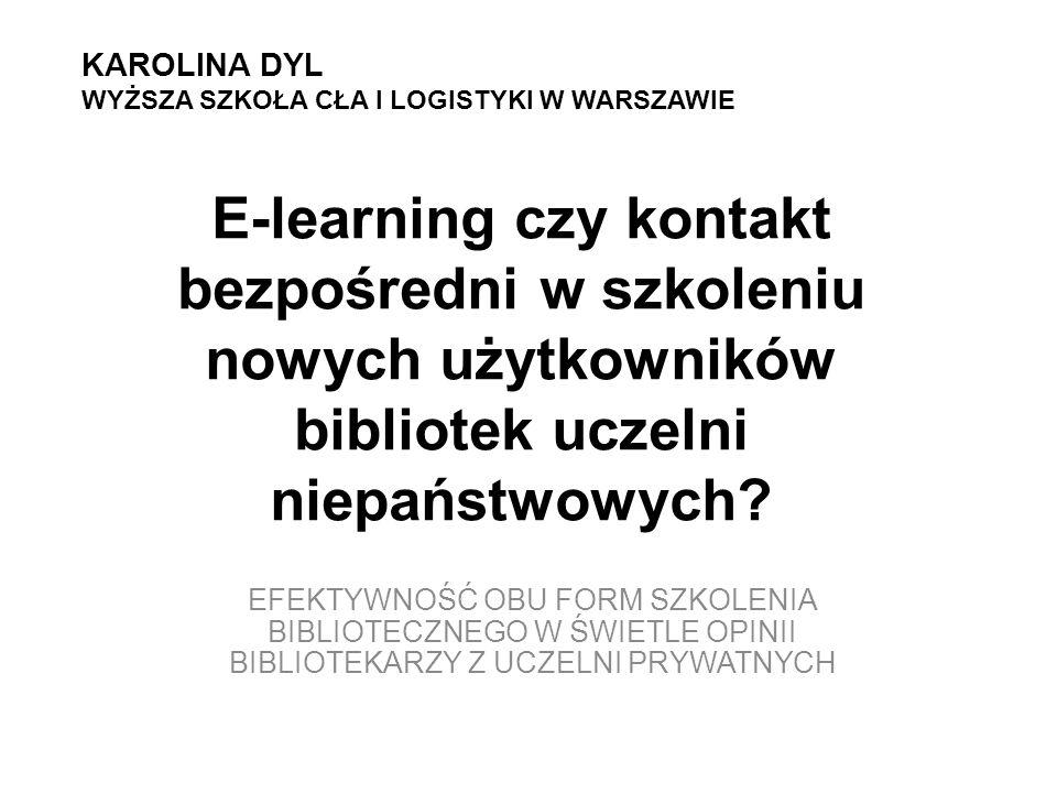 Szkolenia biblioteczne: E-learning Komunikat – Sieć - Odbiorca Elastyczność Prowadzący = Koordynator Mobilność (m-learning) Multimedialność i interakcyjność Jednolitość przekazywanego materiału Oszczędność czasu, kadry i miejsca Bezpośredni kontakt z użytkownikiem Nadawca – Komunikat - Odbiorca Określony czas i miejsce Bezpośrednie zaangażowanie prowadzącego Brak jednolitości przekazu Budowanie relacji pomiędzy czytelnikiem a bibliotekarzem Brak konieczności korzystania z technologii komputerowych Poczucie wspólnoty
