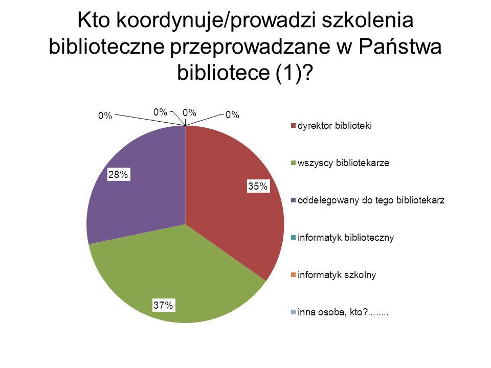 Kto koordynuje/prowadzi szkolenia biblioteczne przeprowadzane w Państwa bibliotece (1)