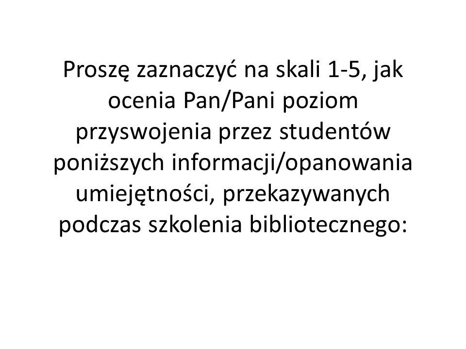 Proszę zaznaczyć na skali 1-5, jak ocenia Pan/Pani poziom przyswojenia przez studentów poniższych informacji/opanowania umiejętności, przekazywanych podczas szkolenia bibliotecznego: