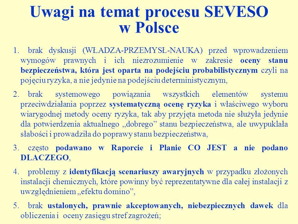 Uwagi na temat procesu SEVESO w Polsce 1.brak dyskusji (WŁADZA-PRZEMYSŁ-NAUKA) przed wprowadzeniem wymogów prawnych i ich niezrozumienie w zakresie oc