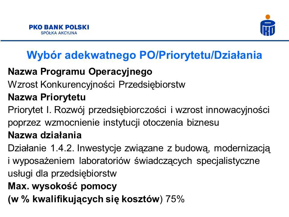 Wybór adekwatnego PO/Priorytetu/Działania Nazwa Programu Operacyjnego Wzrost Konkurencyjności Przedsiębiorstw Nazwa Priorytetu Priorytet I. Rozwój prz