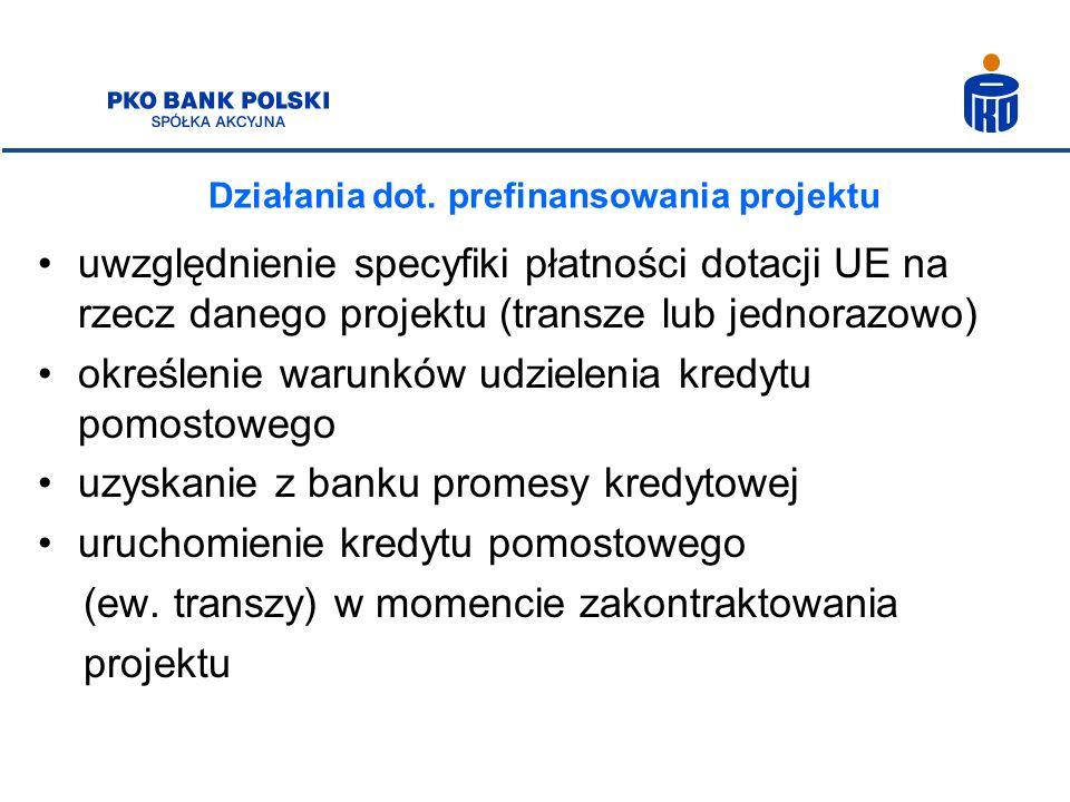 Działania dot. prefinansowania projektu uwzględnienie specyfiki płatności dotacji UE na rzecz danego projektu (transze lub jednorazowo) określenie war