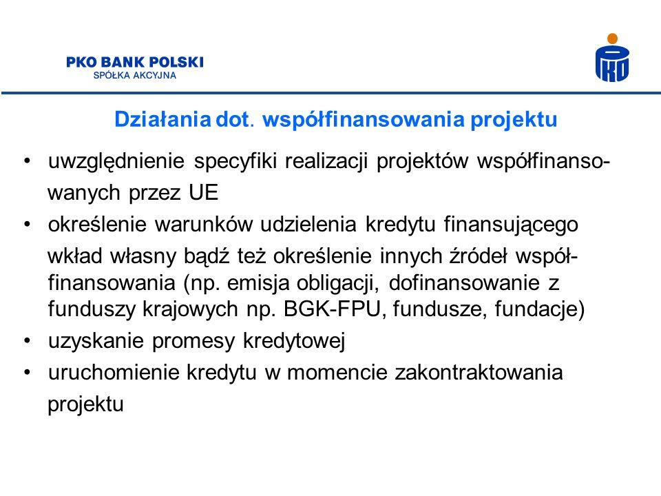 Działania dot. współfinansowania projektu uwzględnienie specyfiki realizacji projektów współfinanso- wanych przez UE określenie warunków udzielenia kr