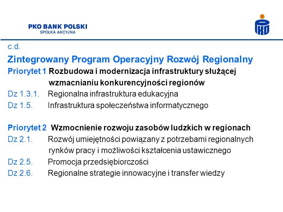 c.d. Zintegrowany Program Operacyjny Rozwój Regionalny Priorytet 1 Rozbudowa i modernizacja infrastruktury służącej wzmacnianiu konkurencyjności regio