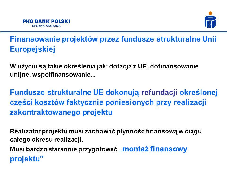 Zaawansowany montaż finansowy Pożądany przy większych projektach Uzależniony od stabilności systemu okresowych płatności oraz przewidywalności płatności związanych z realizacją projektu Sprzedaż pakietowej obsługi finansowej projektu (kredyt pomostowy/kredyt finansujący wkład własny/emisja obligacji)