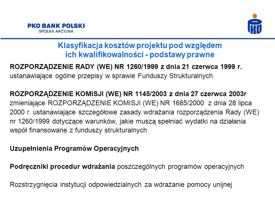 Klasyfikacja kosztów projektu pod względem ich kwalifikowalności - podstawy prawne ROZPORZĄDZENIE RADY (WE) NR 1260/1999 z dnia 21 czerwca 1999 r. ust