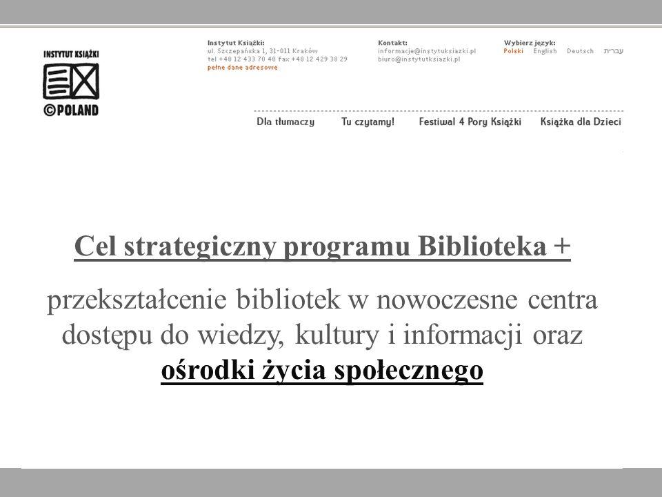 Cel strategiczny programu Biblioteka + przekształcenie bibliotek w nowoczesne centra dostępu do wiedzy, kultury i informacji oraz ośrodki życia społec