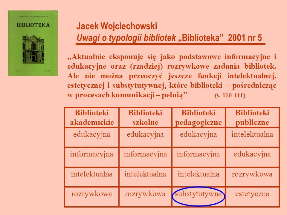 estetycznasubstytutywnarozrywkowa intelektualna edukacyjnainformacyjna intelektualnaedukacyjna Biblioteki publiczne Biblioteki pedagogiczne Biblioteki