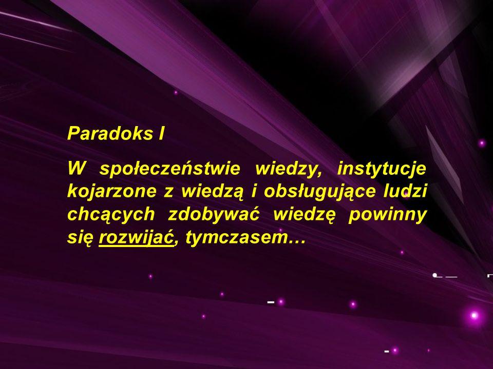 Paradoks I W społeczeństwie wiedzy, instytucje kojarzone z wiedzą i obsługujące ludzi chcących zdobywać wiedzę powinny się rozwijać, tymczasem…