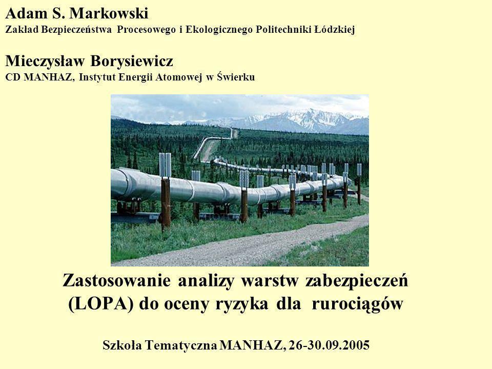 Zastosowanie analizy warstw zabezpieczeń (LOPA) do oceny ryzyka dla rurociągów Szkoła Tematyczna MANHAZ, 26-30.09.2005 Adam S.