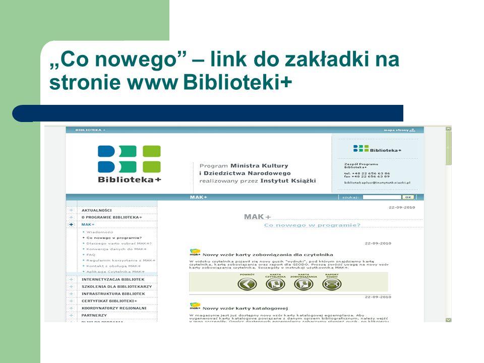Co nowego – link do zakładki na stronie www Biblioteki+
