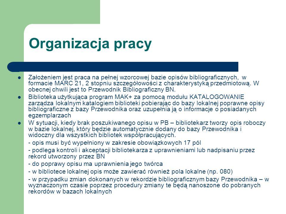 Organizacja pracy Założeniem jest praca na pełnej wzorcowej bazie opisów bibliograficznych, w formacie MARC 21, 2 stopniu szczegółowości z charakterys