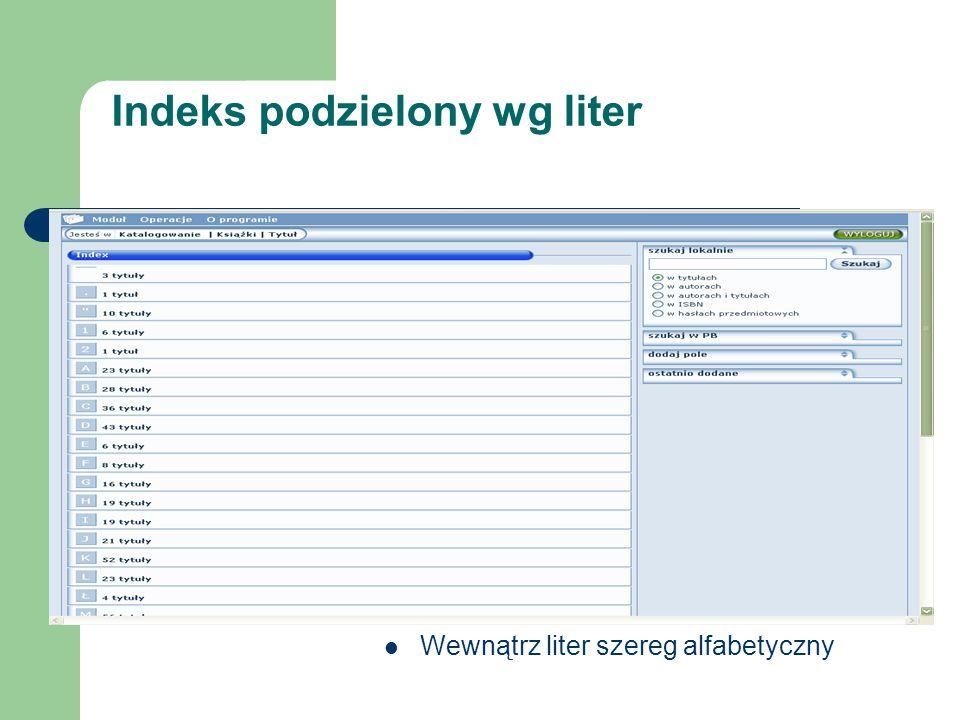 Indeks podzielony wg liter Wewnątrz liter szereg alfabetyczny