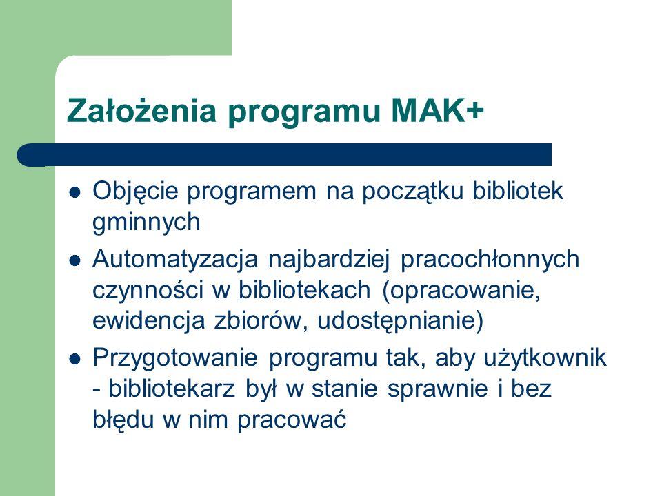 Założenia programu MAK+ Objęcie programem na początku bibliotek gminnych Automatyzacja najbardziej pracochłonnych czynności w bibliotekach (opracowani