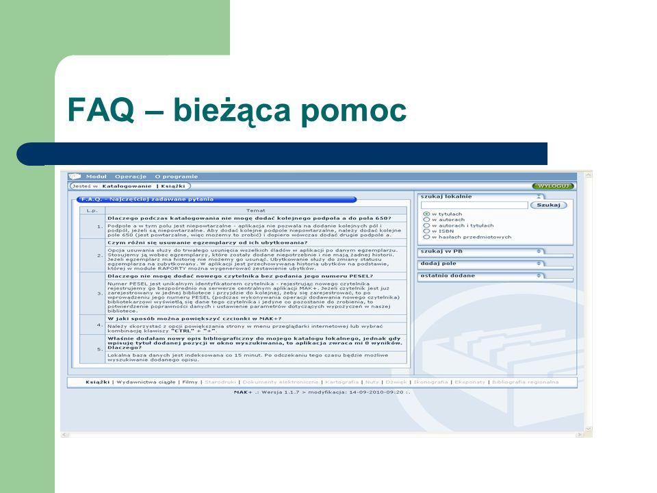 Opracowanie- moduł KATALOG Odróżniający moduł kolor Górny pasek menu Przejścia, instrukcje, pomoc Boczny pasek menu Wyszukiwanie po frazach Informacje o bazie Wyszukiwanie wg indeksów Dolny pasek menu Typy dokumentów - Sekcje