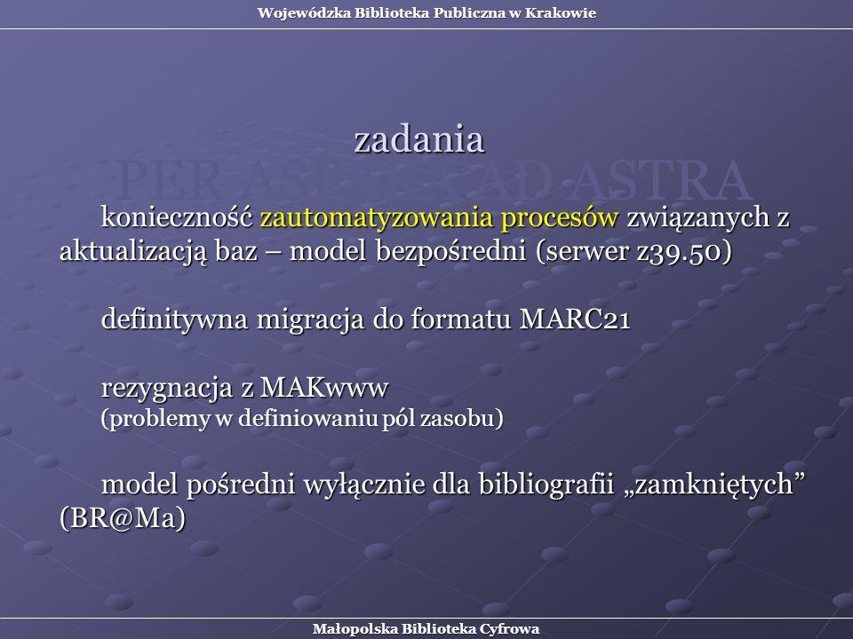 konieczność zautomatyzowania procesów związanych z aktualizacją baz – model bezpośredni (serwer z39.50) definitywna migracja do formatu MARC21 rezygna