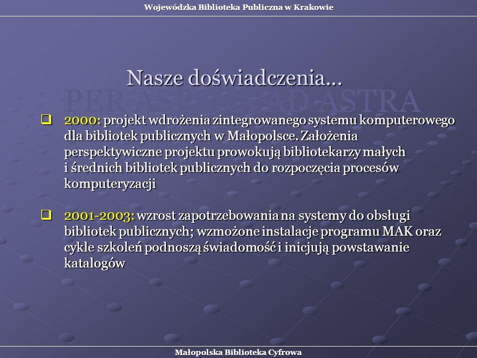 Nasze doświadczenia... 2000: projekt wdrożenia zintegrowanego systemu komputerowego dla bibliotek publicznych w Małopolsce. Założenia perspektywiczne